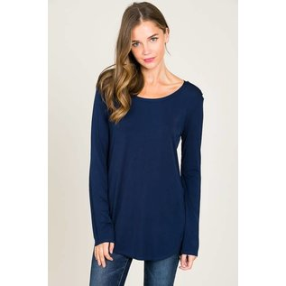 L/S ROUND NECK TOP NAVY