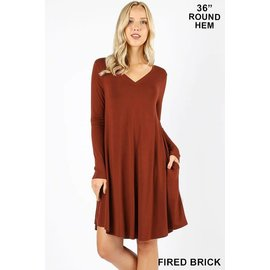 L/S V-NECK POCKET DRESS BRICK