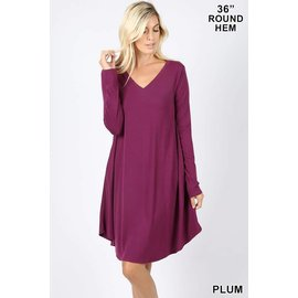 L/S V-NECK POCKET DRESS PLUM