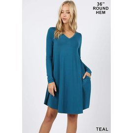L/S V-NECK POCKET DRESS TEAL