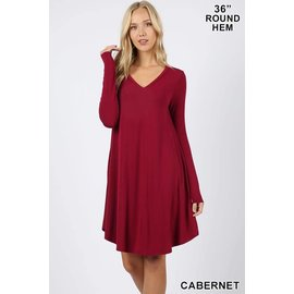 L/S V-NECK POCKET DRESS CABERNET