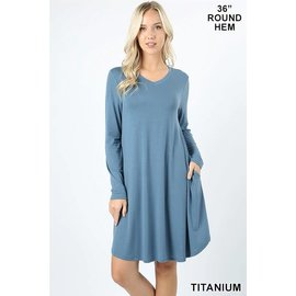 L/S V-NECK POCKET DRESS TITANIUM