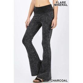 Mineral Wash Fold-over Yoga Pants Charcoal