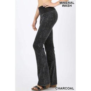 Mineral Wash Fold-over Yoga Pants Charcoal