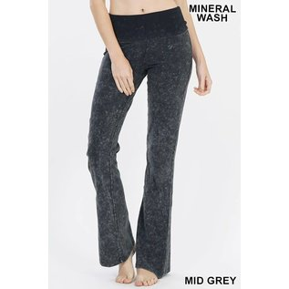 Mineral Wash Fold-over Yoga Pants Grey