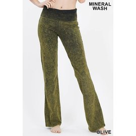 Mineral Wash Fold-over Yoga Pants Olive