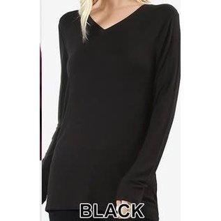 Long Sleeve V-Neck T-Shirt Black