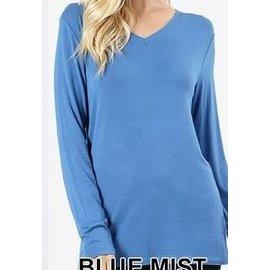 Long Sleeve V-Neck T-Shirt Blue Mist