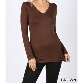 Long Sleeve V-Neck T-Shirt Brown