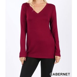 Long Sleeve V-Neck T-Shirt Cabernet- LARGE ONLY
