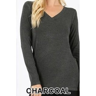 Long Sleeve V-Neck T-Shirt Charcoal