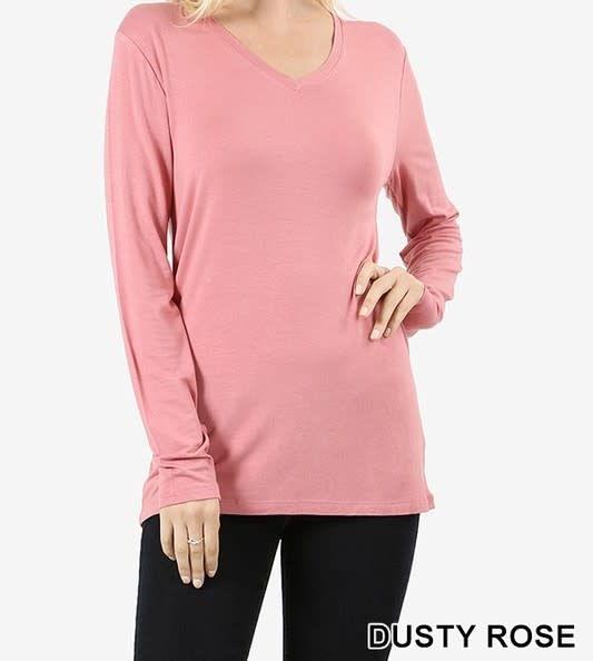 6d71f95e7c2b49 Long Sleeve V-Neck T-Shirt Dusty Rose - Kamala Boutique