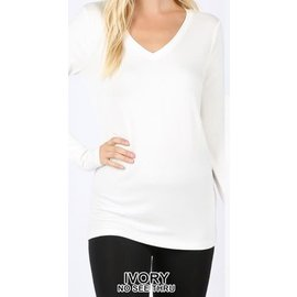 Long Sleeve V-Neck T-Shirt Ivory