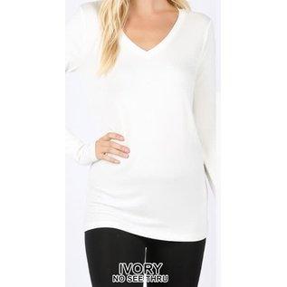 Long Sleeve V-Neck T-Shirt Ivory
