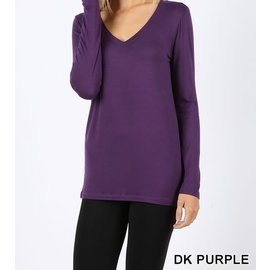 Long Sleeve V-Neck T-Shirt Purple