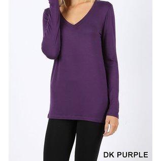 Long Sleeve V-Neck T-Shirt Purple