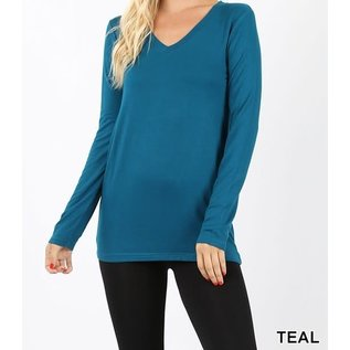 Long Sleeve V-Neck T-Shirt Teal