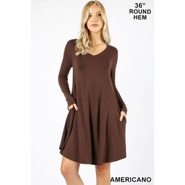 Plus L/S V-NECK POCKET DRESS BROWN