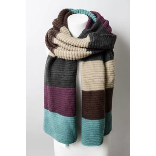 COLOR BLOCK RIB KNIT SCARF