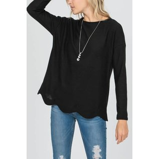 BLACK SCALLOP HEM SWEATER