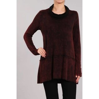 WINE MINERAL WASH COWL TOP