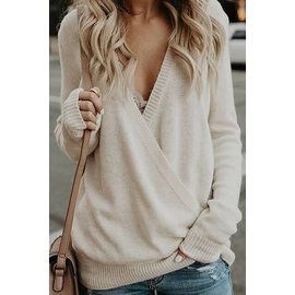 PALE YELLOW SOFT CROSS FRONT SWEATER