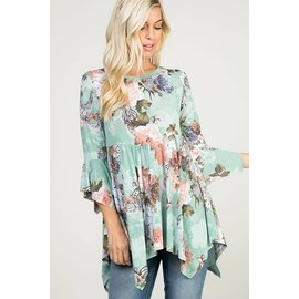Romantic Mint Floral tunic