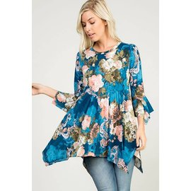 Romantic Blue Floral tunic