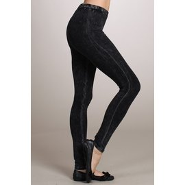 MINERAL WASH LEGGINGS BLACK