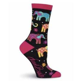 Laurel Burch Happy Elephants socks