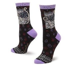 Laurel Burch Black White Cats socks