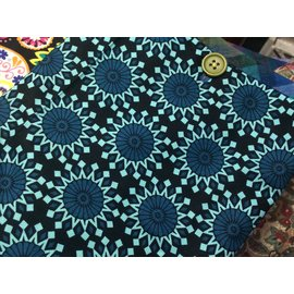 One Of A Kind Handmade Item Useful Little Bag - TEAL MANDALA STARS