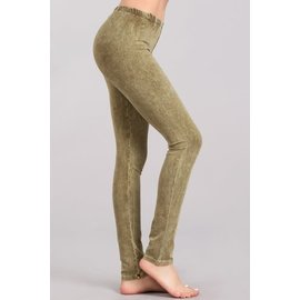 MINERAL WASH LEGGINGS OLIVE