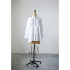 VOILE TUCKED TUNIC - WHITE