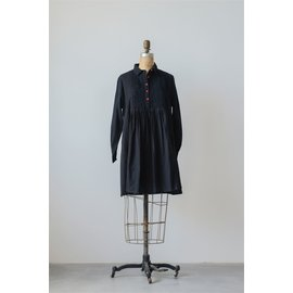 BLACK DOBBY TUNIC- RED BUTTONS