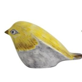 CERAMIC BIRD YELLOW GREY
