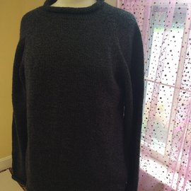 ROLL NECK SWEATER HEATHER BLACK - LARGE