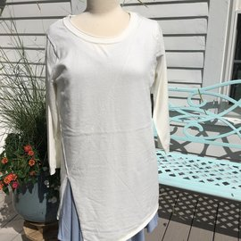IVORY SPLICE FRONT SWEATER