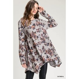 SALE!! Dove Grey Flower Tunic- SMALL