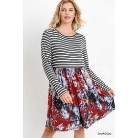 STRIPE & FLORAL DRESS