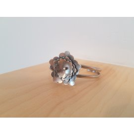 Seismic Silver Whimsical Flower Cuff by Seismic Silver
