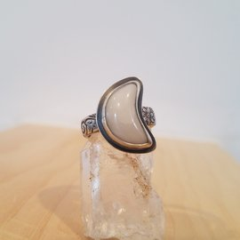Seismic Silver Chalcedony Moonflower Ring by Seismic Silver