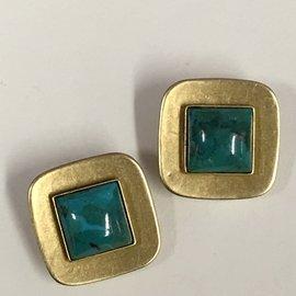 MARJORIE BAER Square Turquoise Stone Clip Earrings