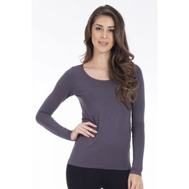 MODAL LONG SLEEVE TOP CHARCOAL