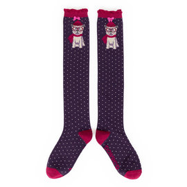 POWDER WINTER WESTIE PLUM KNEE SOCKS