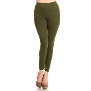 ONE SIZE SOLID OLIVE LEGGINGS
