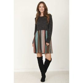 CHARCOAL MULTI STRIPE  DRESS