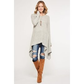 HEATHER GREY SWEATER KNIT TUNIC