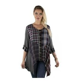 SACRED THREADS CHARCOAL PLAIDS BUTTON TUNIC
