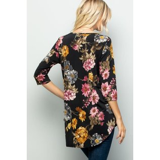 BLACK FLORAL BABYDOLL TOP- small to 3x
